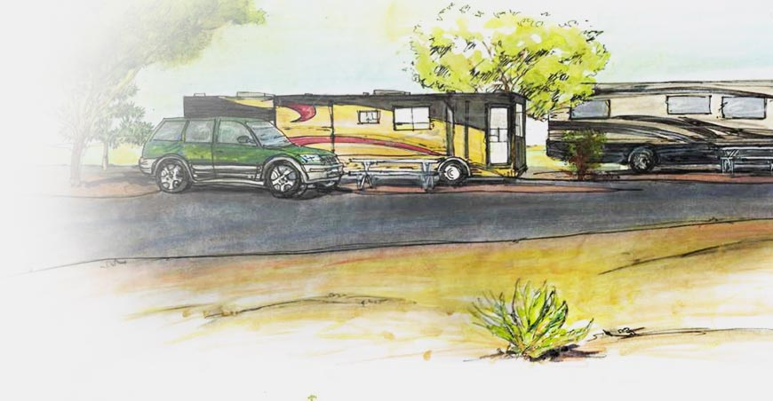 Painting of RV's and a car